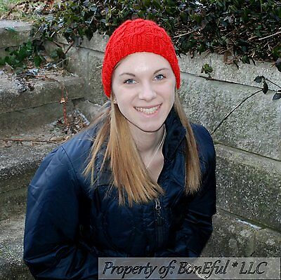 BonEful RTS NEW Boutique Crochet Knit Red Flower Winter Xmas Holiday HAT 4 Girl
