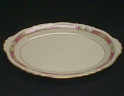 "Syracuse China Federal Shape Pink Raleigh 16"" Platter Gold Trim"