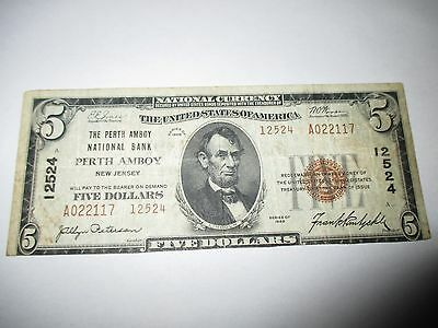 $5 1929 Perth Amboy New Jersey NJ National Currency Bank Note Bill! #12524 RARE!