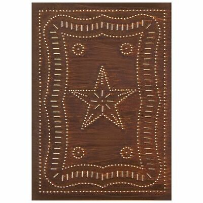 Country new distressed rusty tin punched STAR cabinet panel