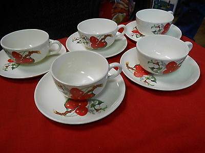 """Outstanding W.S.GEORGE China  """"Cherry Blossom"""" 5 CUPS AND SAUCERS"""