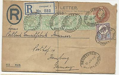 Great Britain Registered Cover w/ Perfins 1907