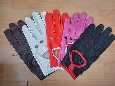 Ladies Classic Vintage Genuine Leather Fashion Driving  Chauffeur Gloves