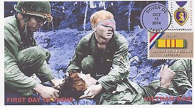 Jvc Cachets -2014 Purple Heart Issue First Day Covers Fdc - Vietnam War Military