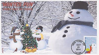 Jvc Cachets -2014 Winter Fun Issue First Day Cover Fdc Seasons Topical Cover #3