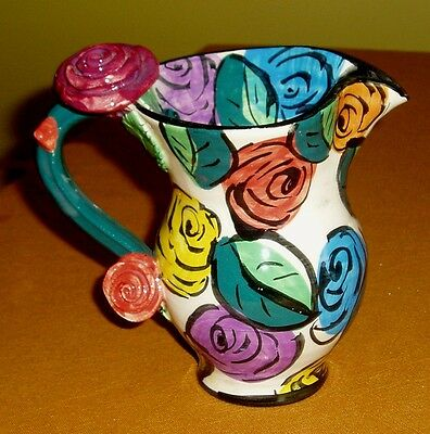 Signed 1994 Mary Rose Young Flowers Leaves Thorn Pottery Pitcher Jug England UK