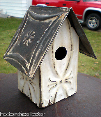 SALE Primitive Antique Ceiling Tin Tile Bird House Hand Tooled USA Chic Fleur De