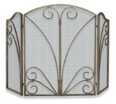 Uniflame 3 Fold Venetian Bronze Screen W/ Decorative Scrollwork S-1662 NEW