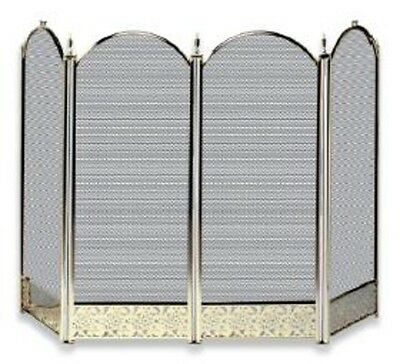 Uniflame 4 FOLD POLISHED BRASS  SCREEN WITH DECORATIVE FILIGREE S-2115 NEW