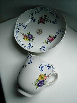 Antique French Sevres style porcelain cup & saucer Christies sticker 18thC