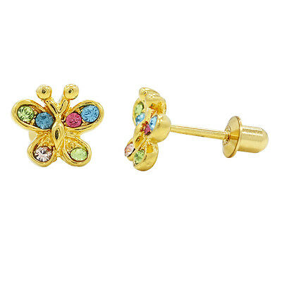 Gold Filled 18k Multi Colored Crystal Butterfly Children's Screw Back Earrings