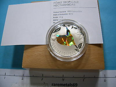 Sunbird Yellow Prism 1000 Francs Togo Silver Coin Sharp Rare 2500 Mintage