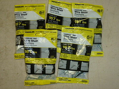 """Lot of (5) TOGGLER 50250, WIRE SHELF ANCHOR, #8 X 1-3/4"""", 3/8""""-1/2"""" DRYWALL"""