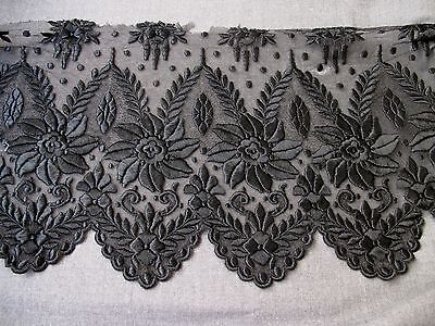 """ANTIQUE VICTORIAN EMBROIDERY FLOWERS & LEAVES BLACK TULLE LACE FOR PROJECT 60"""""""
