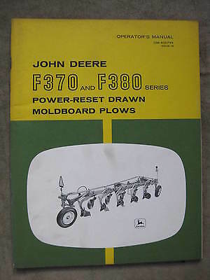 John Deere F370 F380 Moldboard Plow operators manual ORIGINAL