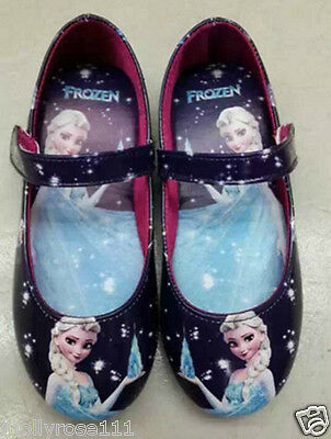 Disney Girls Elsa Frozen Princess Dark Purple Ballet Summer Shoes