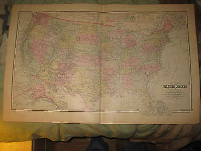 Huge Gorgeous Antique 1895 United States Grays Hdclr Map Texas California Alaska