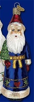 Blue Pennsylvania Dutch Style Santa Old World Christmas Glass Ornament Nwt 40215