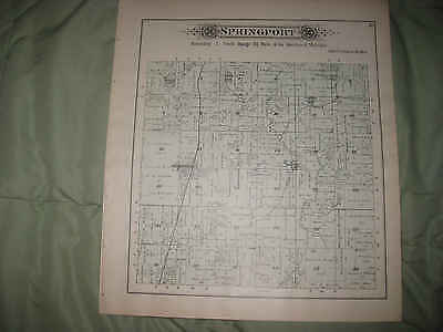 Antique 1894 Springport Township Norvell Jackson County Michigan Handcolored Map