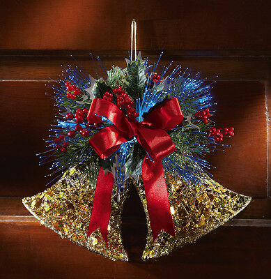 UNIQUE FIBER OPTIC LIGHTED GLITTERY CHRISTMAS JINGLING BELLS HOLIDAY DECOR NEW