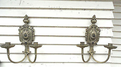 Antique Heavy Solid Brass Wall Sconce Pair - Daisy Victorian Wall Lamp