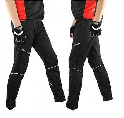Men's Fleece Thermal Winter Cycling Windproof Pants Padded Bike Bicycle Tights