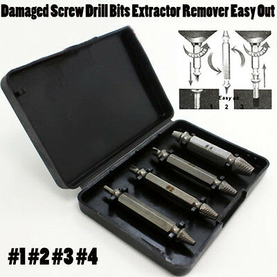 4pcs 1set Damaged Screw Drill Bits Extractor Remover Easy Out Bolt Stud Tool dkm