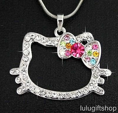 18K White Gold Plated Hellokitty Cat Pendant Necklace Use Swarovski Crystals