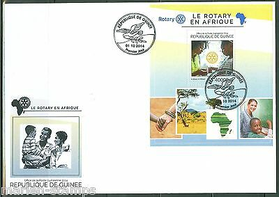 Guinea 2014 Rotary Int'l In Africa  Souvenir Sheet First Day Cover