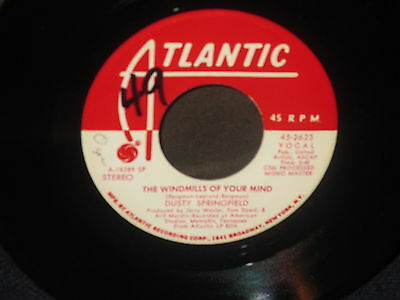"""Dusty Springfield """"I Don't Want to Hear It Anymore/The Windmills of Your Mind""""45"""