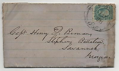CSA Cover Scott #12 Jan 28, 1864 Savannah GA Adversity Letter Captain Bimany
