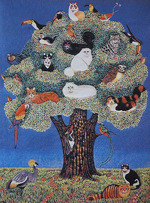Rare Elegant! Needlepoint Persian Style Woven Tapestry Painting: Tree Of Cats