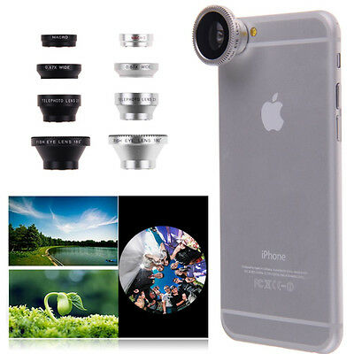 4in1 Fish Eye+ Wide Angle+ Micro + Telephoto Camera Lens for Apple Iphone 6 Sliv