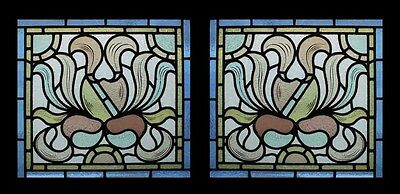 Stunning Rare Art Nouveau Floral Beauties Pair Antique Stained Glass Windows