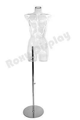 Female Unbreakable Full Round Plastic Mannequin Torso  Clear Color PS-PC/LNG