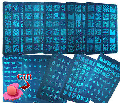 Large Image Nail Art Stamping Plate Stencil Print Metal Steel Template + gift