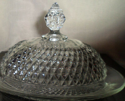 Diamond Point Glass Footed Butter Dish Dome Lid Depression Collectible Imperial