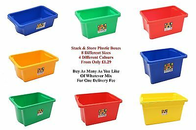 NEW Colourful Stackable & Nestable Plastic Storage Tub Container Bin Box Boxes