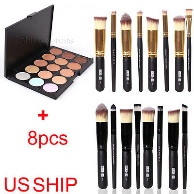 New 15 Colors Contour Face Cream Makeup Concealer Palette + 8PC Powder Brush