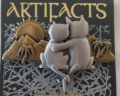 Cat Lovers Sunset Mountains Paradise Pin Pewter Brass Sign JJ Cats Palm Trees