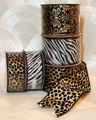 "NEW Ribbon Wired CHOOSE Leopard Zebra 30"" x (2.50"" or 1.50"" Wide) 10 Yd Roll *"