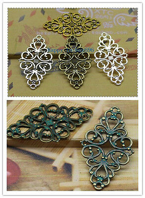 Free shipping 10-30pcs Antique Silver Filigree Flower Rhombus Connector Link