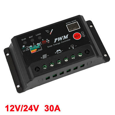 Black Auto Car Panel Charge Solar Battery Charger Controller Regulator 30A