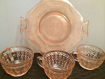 Lot of 4 pcs ~ Pink Depression Jeanette Glass ~ Buttons & Bows Cups ~ Cake Plate