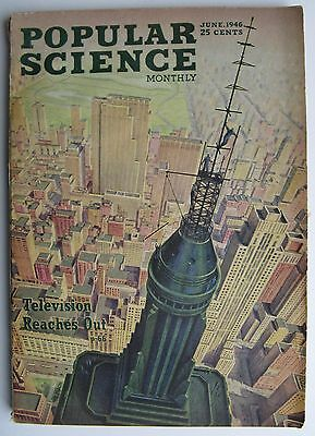 June 1946 Popular Science Monthly - Television Reaches Out (Ray Ploch cover art)