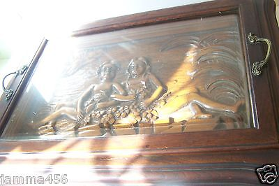 Antique Carved Wooden Cherub Plaque Table Top Glass Tray