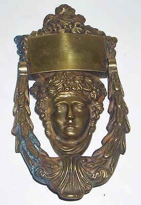 Large Heavy Antique / Vintage Solid Brass Classical Grecian Lady Door Knocker • CAD $180.87