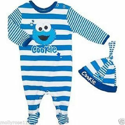 Baby Boy GORGEOUS 2 Piece Cotton Cookie Monster Romper  Outfit