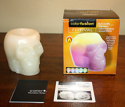 Color Fusion Halloween SKULL CANDLE Flameless Color Changing Sound Effects NEW