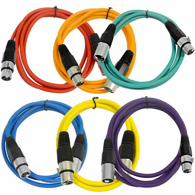 SEISMIC AUDIO (6 PACK) New 6' XLR Patch Cables Colored
